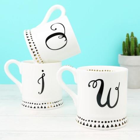 White Ceramic Monogram Mug