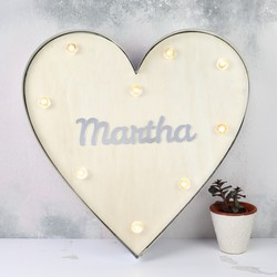 Personalised Acrylic Name Industrial Metal LED Heart Light
