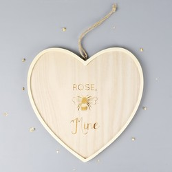 Large Personalised 'Bee Mine' Wooden Hanging Heart