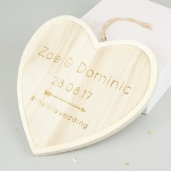 Medium Wooden Personalised Wedding Hanging Heart