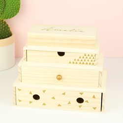 Personalised Stacked Wooden Geometric Jewellery Box