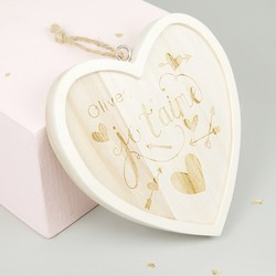 Small Personalised 'Je T'aime' Wooden Hanging Heart