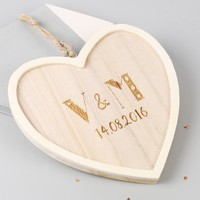 Small Wooden Personalised Initials Hanging Heart