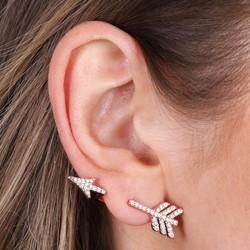 Rose Gold Swarovski Arrow Ear Cuff & Stud