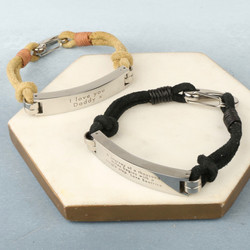Men's Personalised Suede Cord ID Bar Bracelet