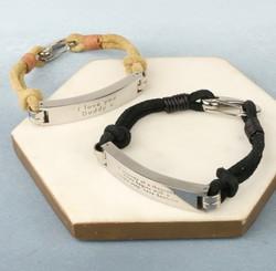 Men's Personalised Suede Cord ID Bar Bracelet