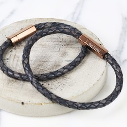 Personalised Men's Woven Leather Bracelet with Hexagon Clasp
