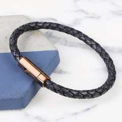 Men's Grey Woven Leather Bracelet with Slim Hexagonal Clasp