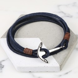 Men's Navy Cord Wrap Bracelet with Stainless Steel Anchor Clasp