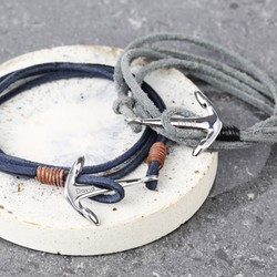 Men's Personalised Wrap Bracelet with Stainless Steel Anchor Clasp