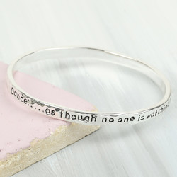 Silver 'Dance' Meaningful Word Bangle
