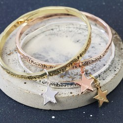 Personalised Meaningful Word Bangle with Star Charm