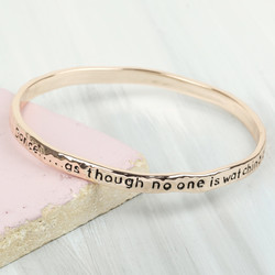 Rose Gold 'Dance' Meaningful Word Bangle