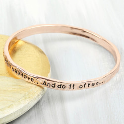 Rose Gold 'Your Life' Meaningful Word Bangle