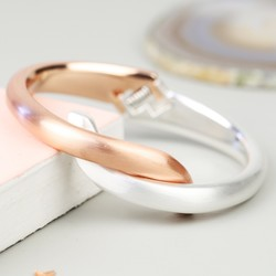 Silver and Rose Gold Twisted Bangle