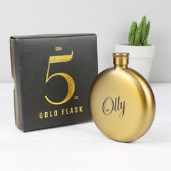 Personalised Antiqued Gold Round Hip Flask