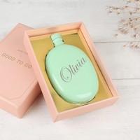 Personalised Aqua Oval Hip Flask