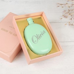 Personalised Aqua Oval Hip Flask