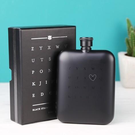 Personalised Matt Black Stainless Steel Hip Flask
