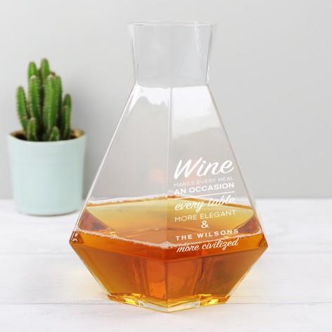 Personalised Geometric Glass Carafe