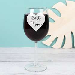 Engraved 'Best Mum' Wine Glass