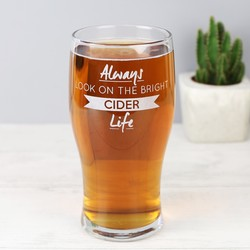 Engraved 'Bright Cider Life' Pint Glass