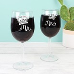 Engraved Mr and Mrs Royal Wine Glasses