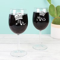 Engraved Mr and Mrs Royal Wine Glass
