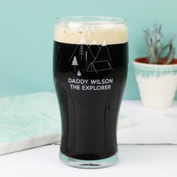 Personalised 'Daddy Explorer' Engraved Pint Glass