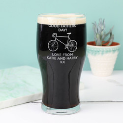 Personalised 'Wheely Good Father's Day' Engraved Pint Glass