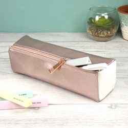Slim Metallic Rose Pencil Case
