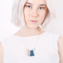 Geometric Matt Pendants Necklace in Cool Blue