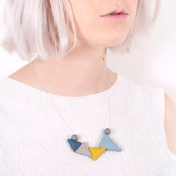 Geometric Matt Triangles Necklace in Blue and Mustard