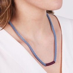 Blue Popcorn Chain Necklace with Burgundy Bar