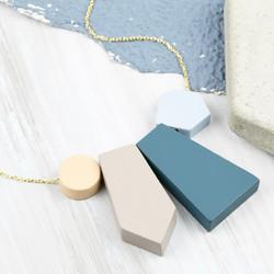 Geometric Matt Pendants Necklace in Cool Blue