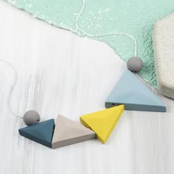 Geometric Matt Triangles Necklace in Blue and Mustard