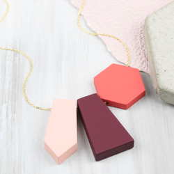 Geometric Triple Matt Pendant Necklace in Pink and Burgundy