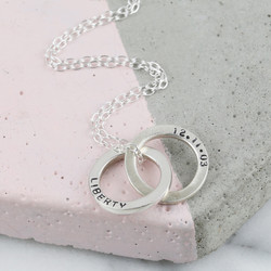 Personalised Sterling Silver Interlocking Circles Necklace