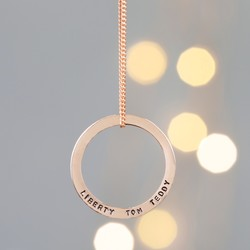 Personalised Solid Rose Gold Family Hoop Necklace