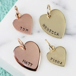 Personalised Hand-Stamped 9k Gold Heart Bracelet Charm
