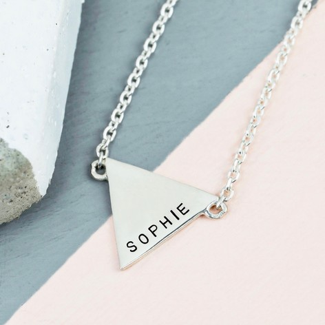 Personalised Shiny Sterling Silver Triangle Necklace