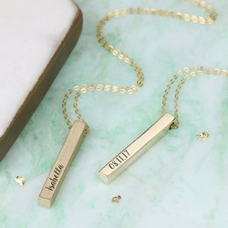 Personalised Solid 9k Gold Bar Necklace