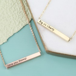 Personalised Solid Gold Horizontal Bar Necklace