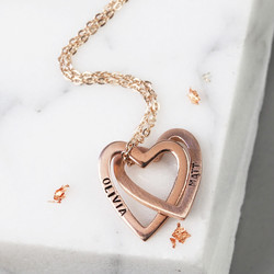 Personalised Solid Rose Gold Interlocking Hearts Necklace