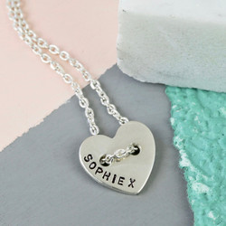 Personalised Sterling Silver Button Heart Necklace