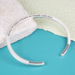 Personalised Sterling Silver Dipped Bar Bangle
