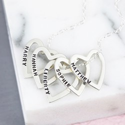 Personalised Sterling Silver Multi Heart Outline Necklace