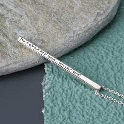 Personalised Sterling Silver Shiny Bar Necklace