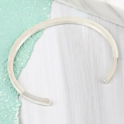 Shiny Sterling Silver Dipped Bar Bangle
