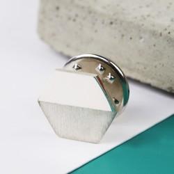 Sterling Silver Hexagonal Lapel Pin
